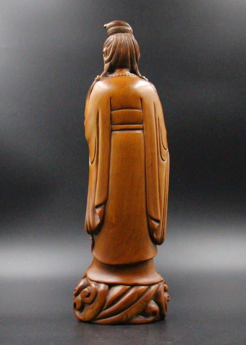 Chinese  Qing Dynasty boxwood basket guanyin - 4
