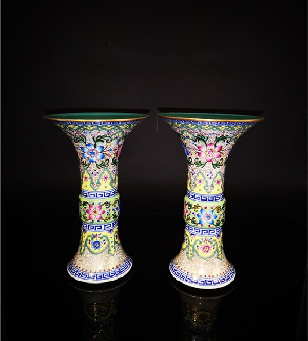 Pair of  Chinese Famille Rose Porcelain Vases - 9
