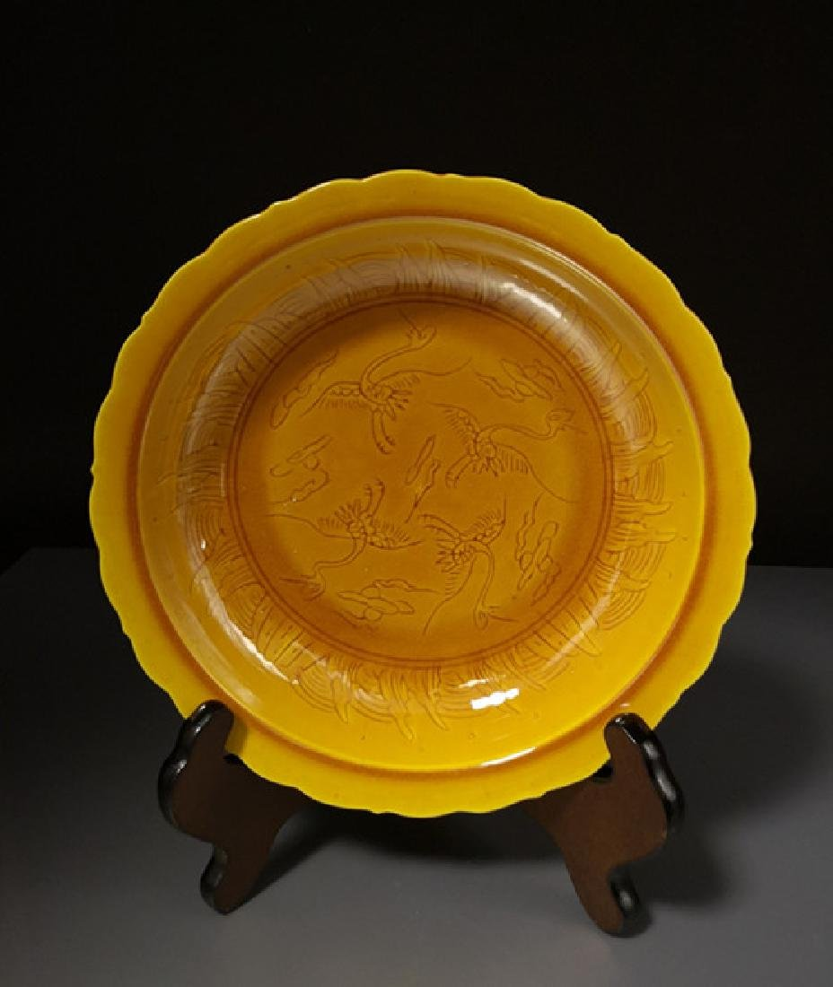 Chinese Yellow Dragon Porcelain Plate