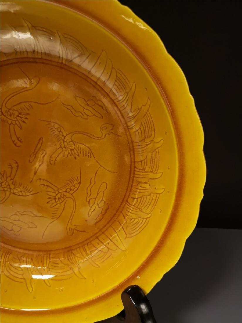 Chinese Yellow Dragon Porcelain Plate - 4