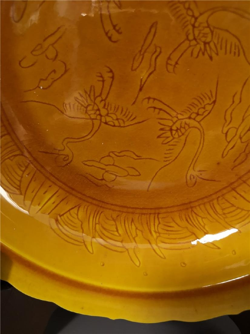 Chinese Yellow Dragon Porcelain Plate - 5
