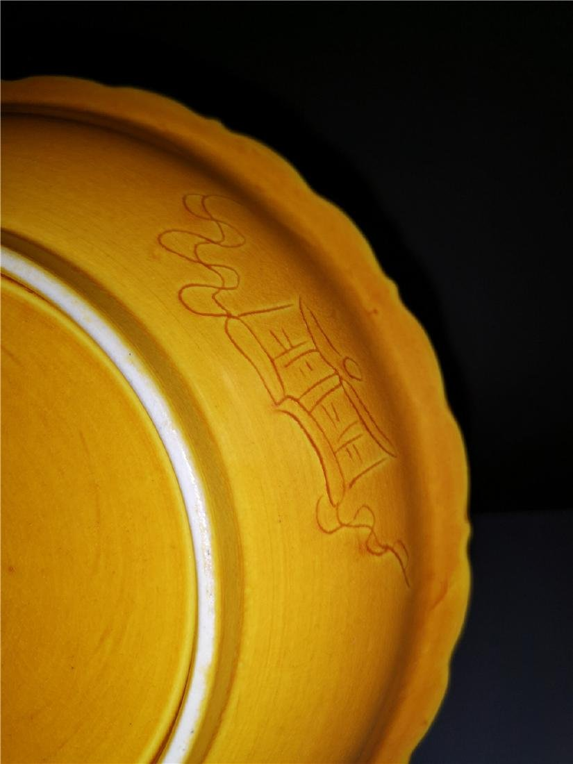 Chinese Yellow Dragon Porcelain Plate - 7