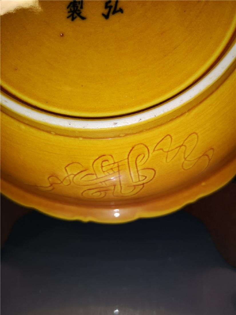 Chinese Yellow Dragon Porcelain Plate - 8