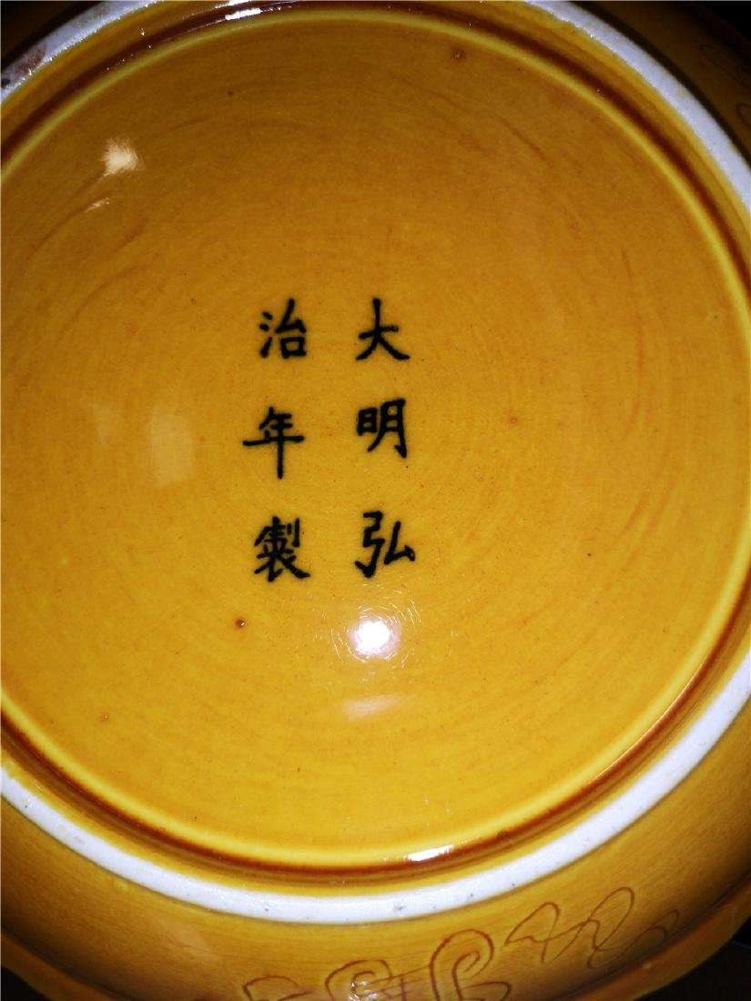 Chinese Yellow Dragon Porcelain Plate - 9