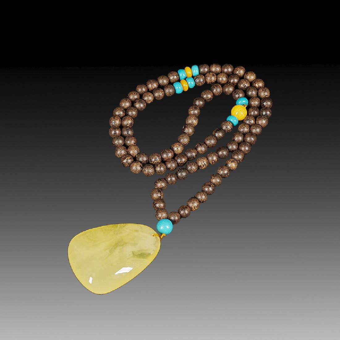 Chinese Chenxiang and Amber Necklace