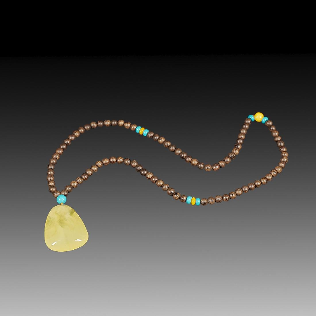Chinese Chenxiang and Amber Necklace - 3