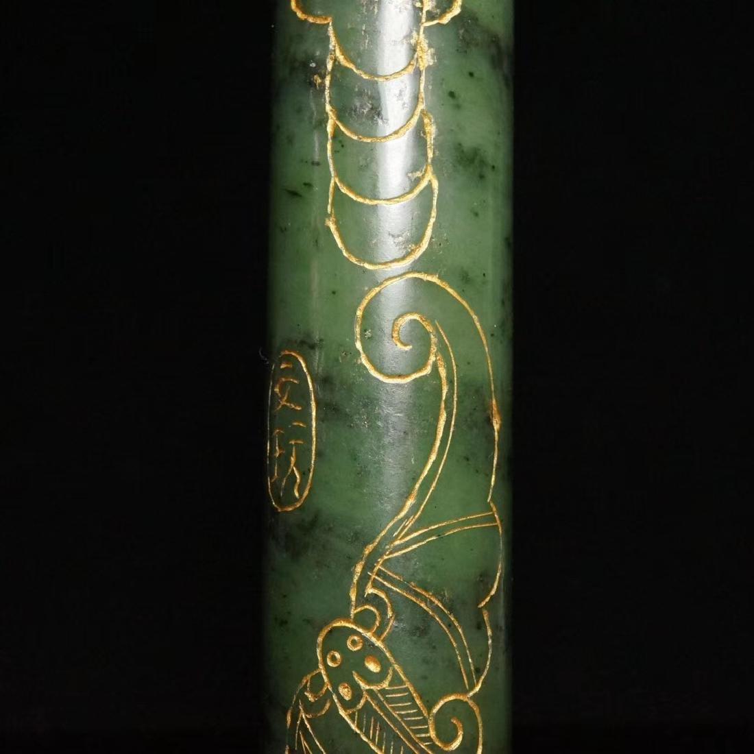 Chinese  Hetian green jade Paper weight - 3
