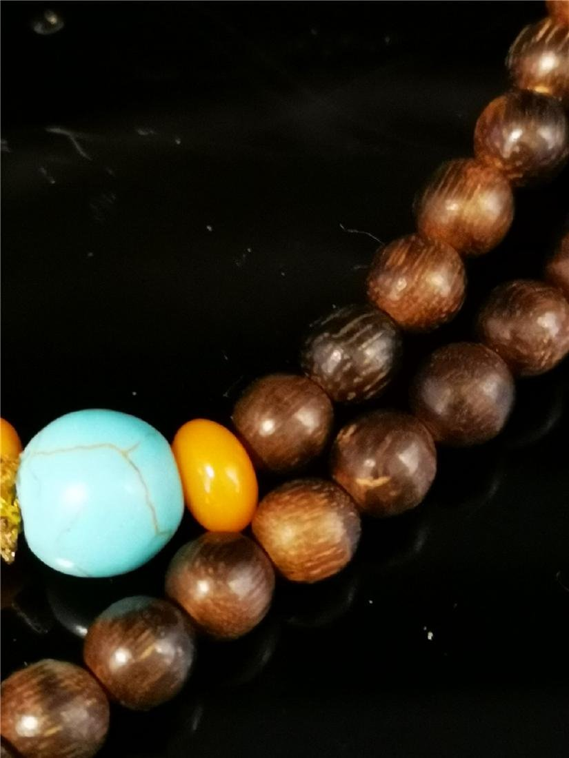 Chinese Chenxiang and Amber Necklace - 4