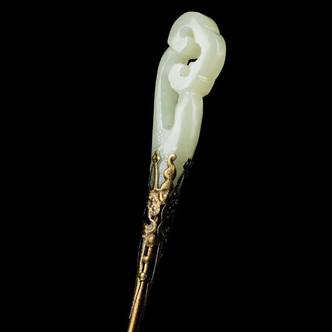 Chinese Qing Jade Hair pin - 2