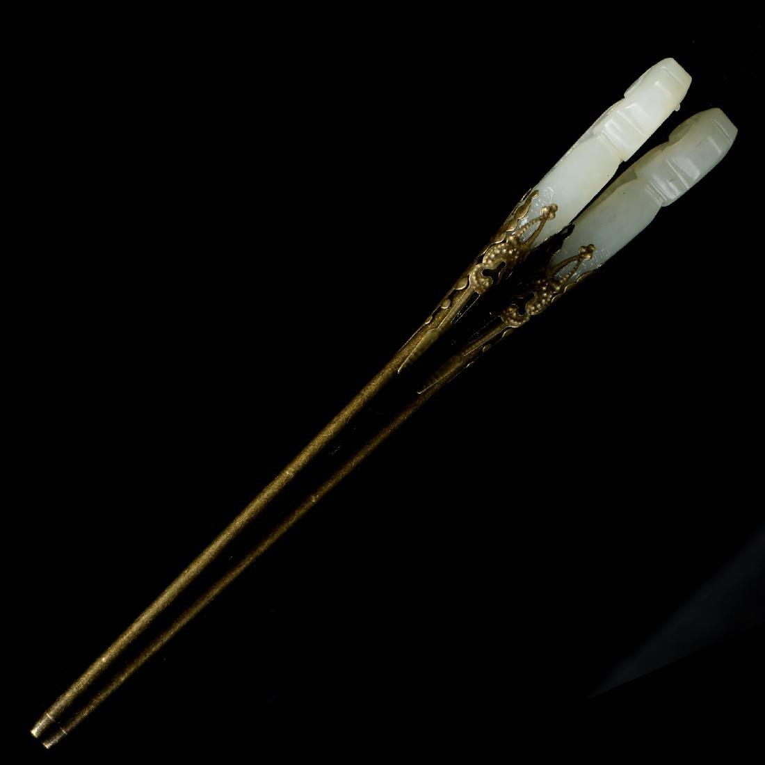 Chinese Qing Jade Hair pin - 4