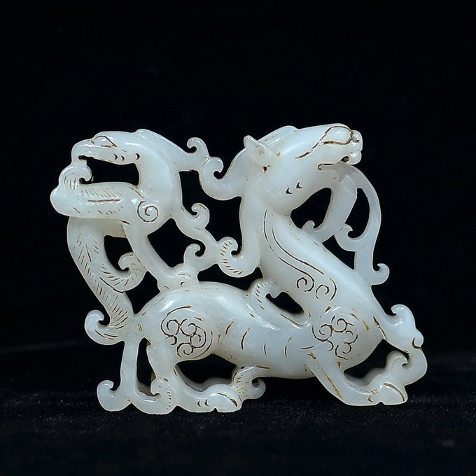 Chinese Hetian White Jade Dragon - 2