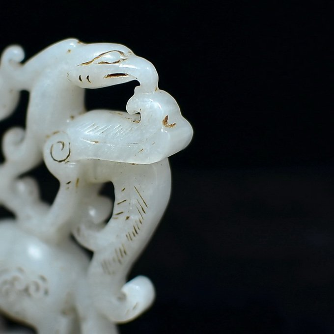 Chinese Hetian White Jade Dragon - 3