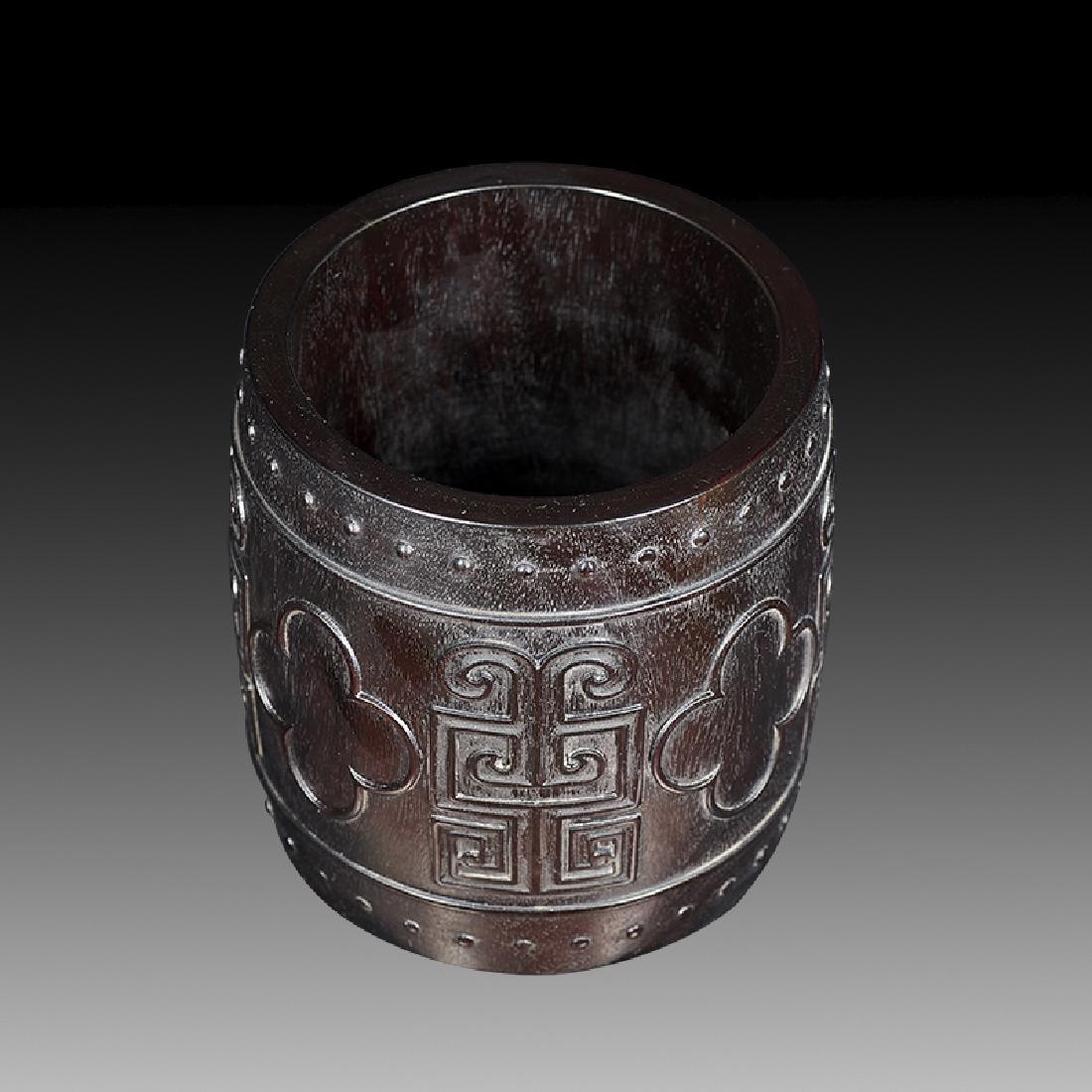 Chinese Carved Hardwood Brush Pot - 3