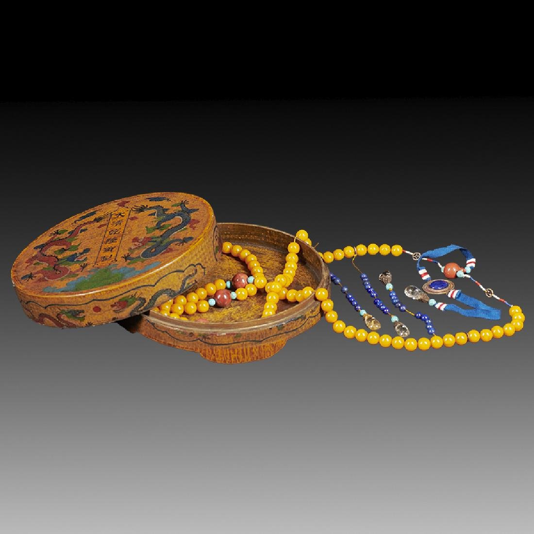 Chinese Amber Court Necklace and Box