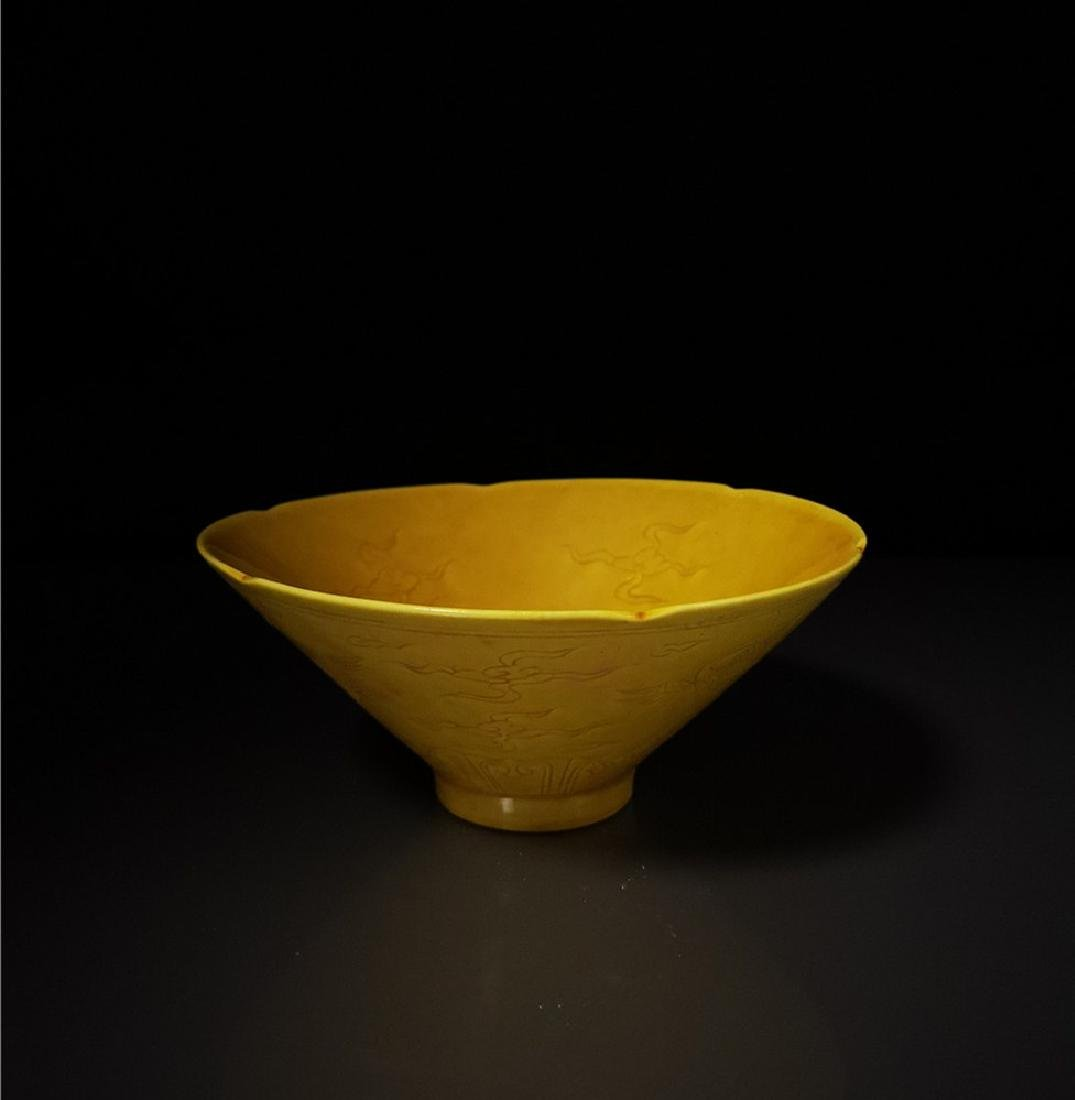 Chinese Yellow Glaze Crane Porcelain Bowl