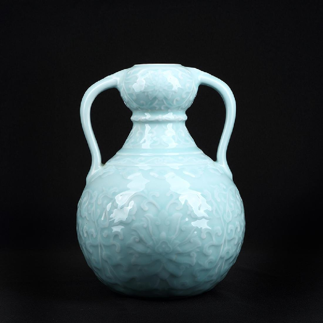 Chinese Sky blue glaze Porcelain Vase.Qianlong Make