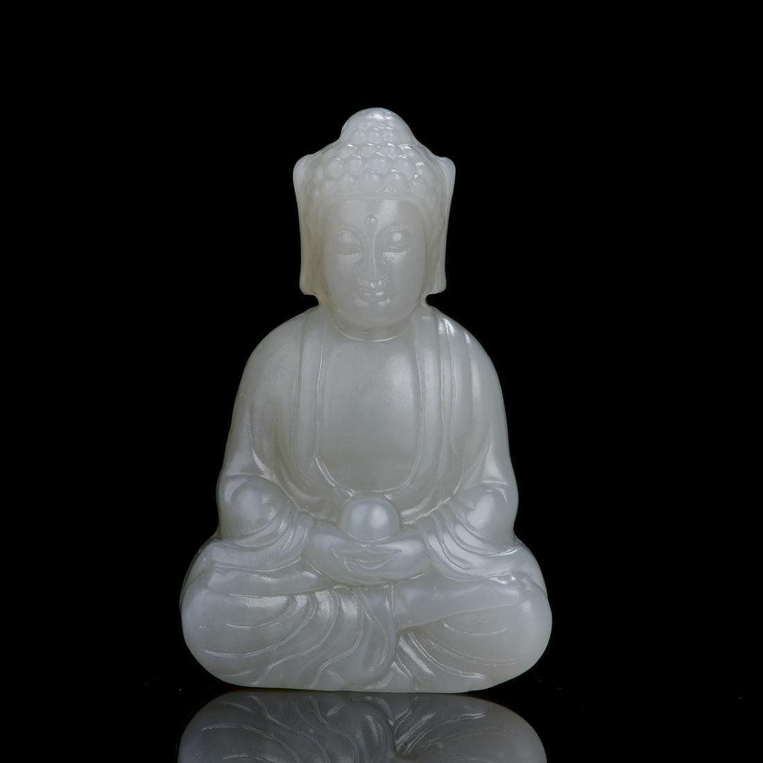Chinese Hetian Jade Carved Buddha Figure