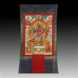 Large Chinese Qing Dynasty Silk Embroidery Thangka