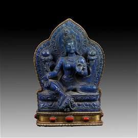Chinese  Lapis Blue Stone Buddha Figure