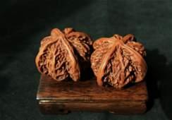 Walnut Toggle Pair Chinese Qing style Walnut Toggle