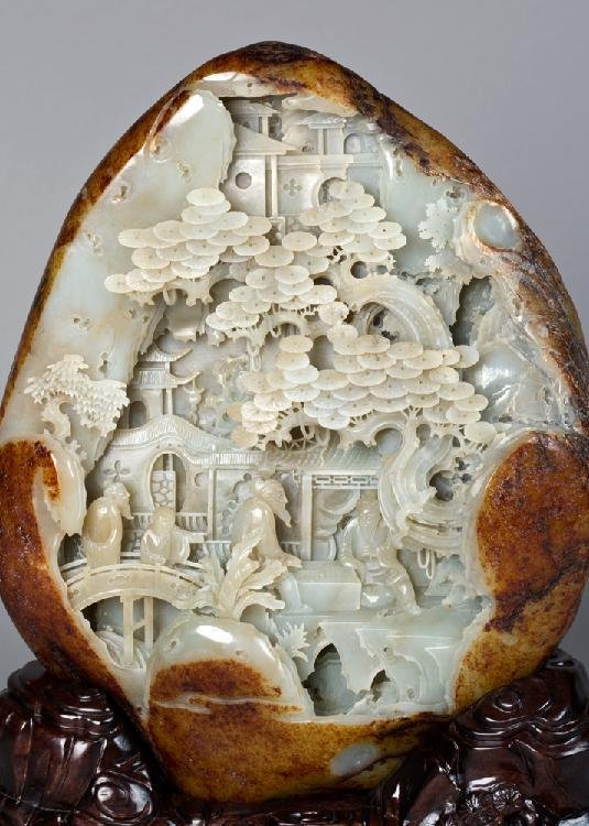 Hetian jade wang in the qing dynasty carved expected