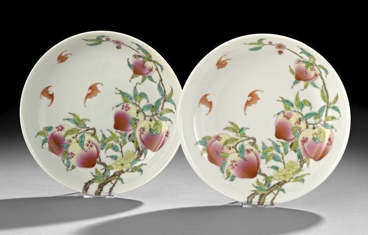 Pair Chinese Famille Rose Saucer Dishes,19th century