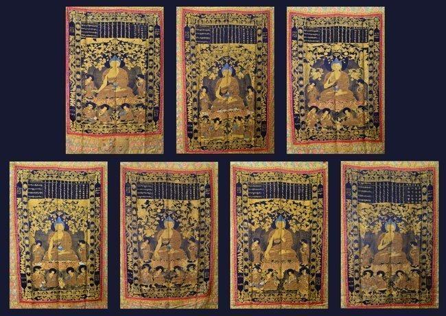 SEVEN OF SILK BUDDHIST THANGKAS