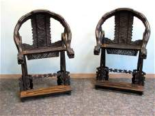 Pair Of Carved Zitan Folding Chairs