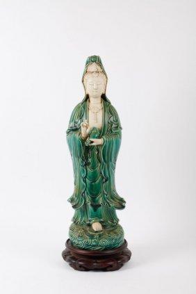 Ch Porcelain Figure Of Guan Yin With Hardwood Base