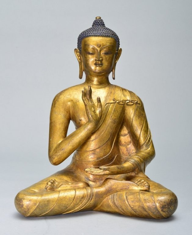 A LARGE GILT-BRONZE FIGURE OF BUDDHA