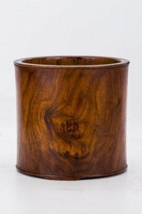 A Huanghuali Or Hardwood Brush Pot
