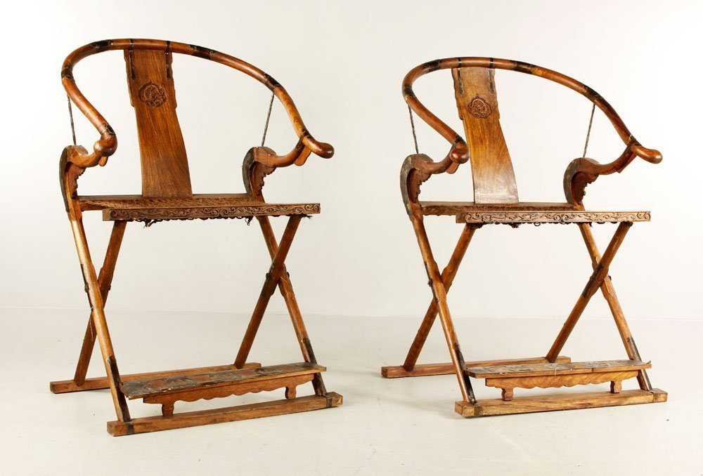 Chinese Huanghuali Wood Folding Chairs