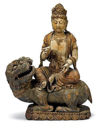 Large Chinese giltwood bodhisattva, ming dynasty, The