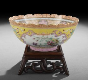 Rare, Unusual Chinese Famille Rose Sgraffito Bowl