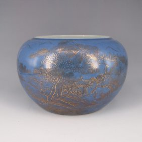 Chinese Blue And White Porcelain Brush Pot..h:15.80cm