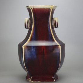 Chinese Oxblood Jun Glazed Zun Vase