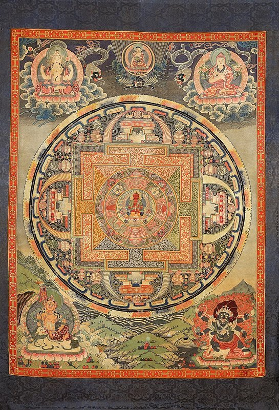 """Chinese Qing dynasty  Huge """"DAZI"""" embroidered thangka"""