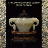 Fine carved white jade covered censer on stand