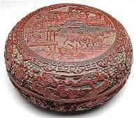 Chinese black lacquer and cinnabar circular peng box