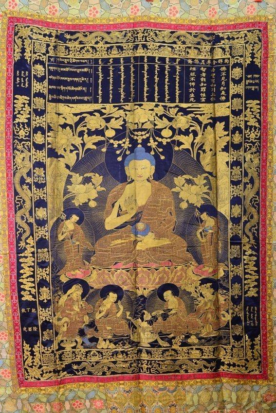 Seven of silk buddhist thangkas - 2
