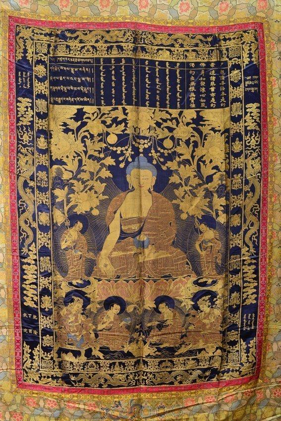 Seven of silk buddhist thangkas - 5