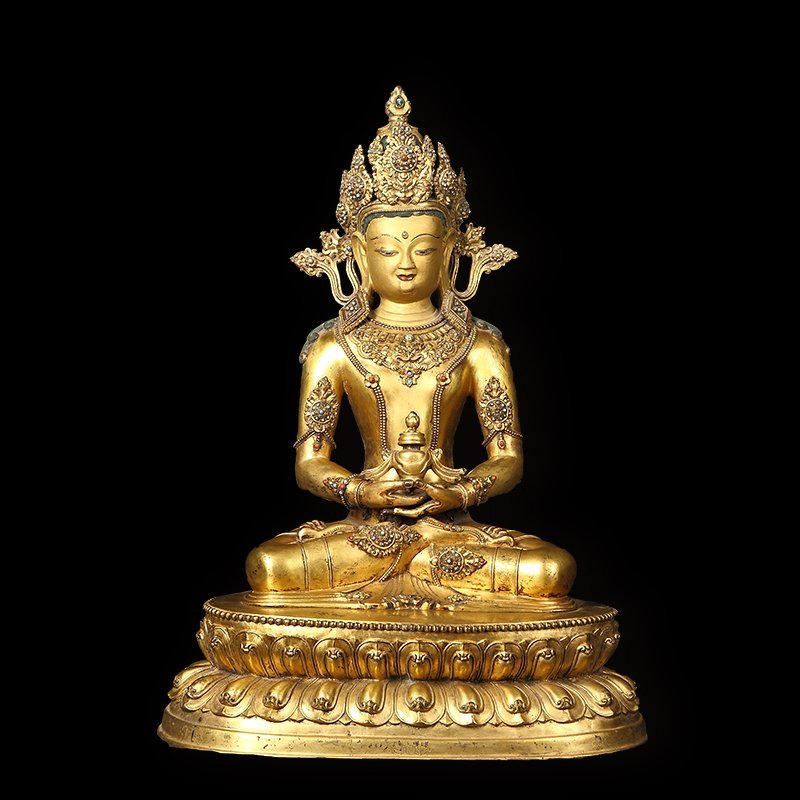 Copper and gold in the qing dynasty longevity Buddha