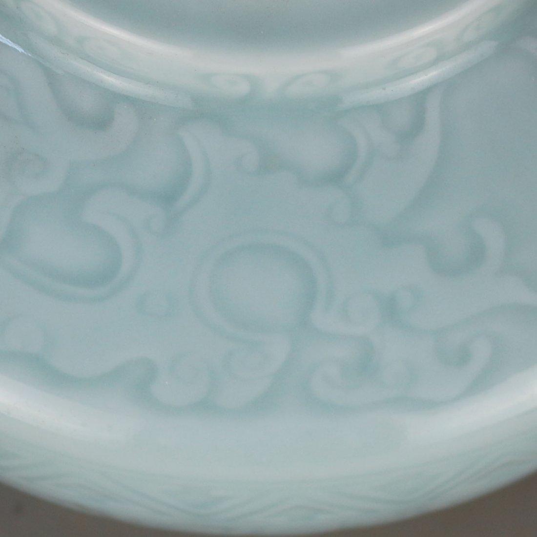 Qing qianlong azure glaze carving string lines three - 3