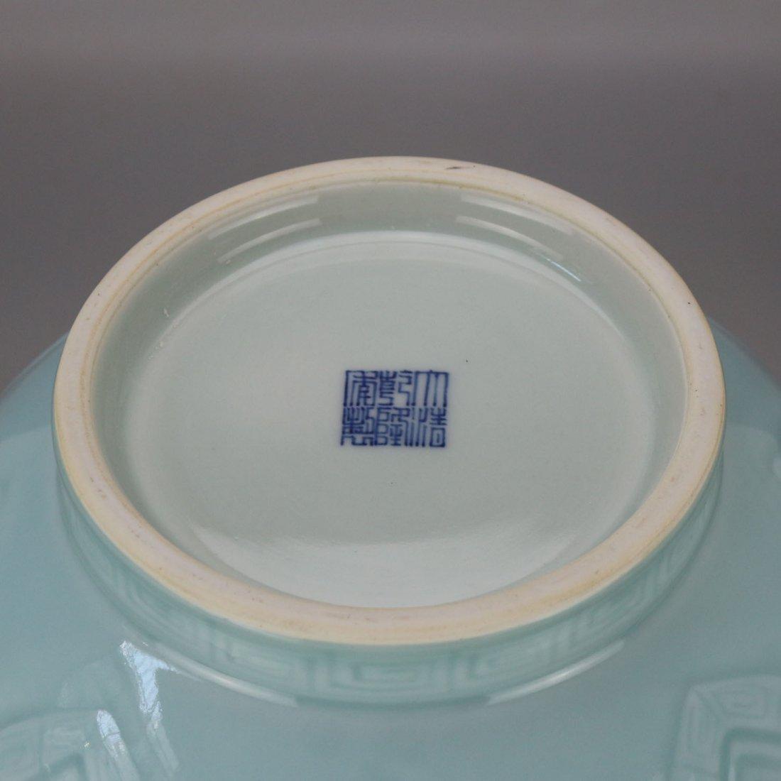 Qing qianlong azure glaze carving string lines three - 4