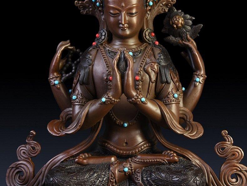 Pure copper four arm guanyin Buddha - 2