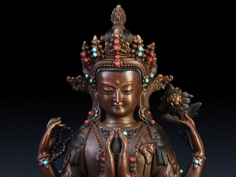 Pure copper four arm guanyin Buddha - 3