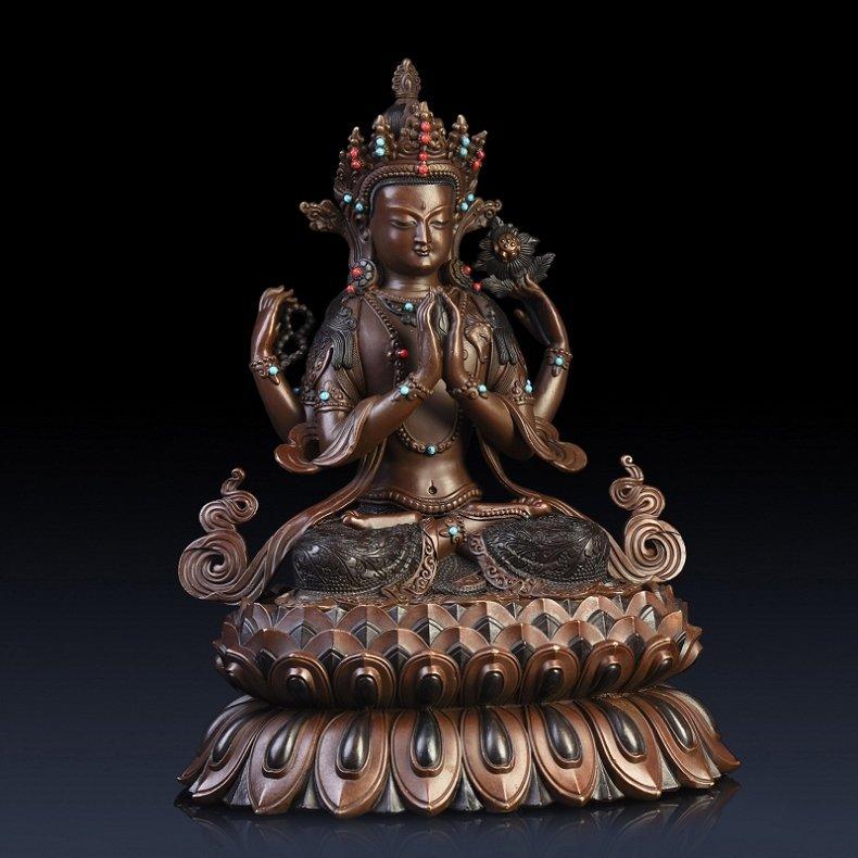 Pure copper four arm guanyin Buddha - 7