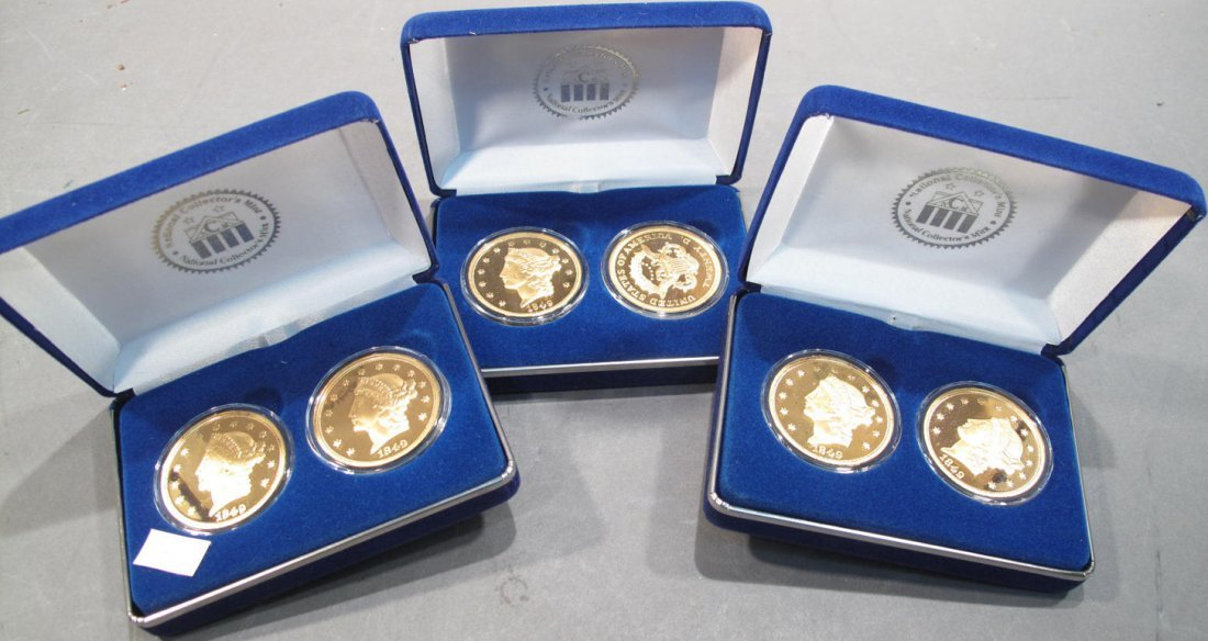 THREE $20 LIBERTY GOLD PROOF SETS.  By National