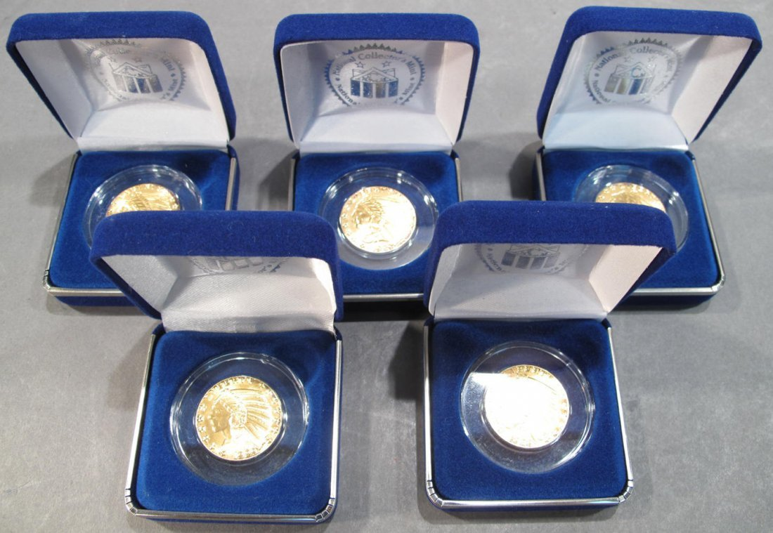 FIVE NATIONAL COLLECTOR MINT INDIAN HEAD GOLD CLAD