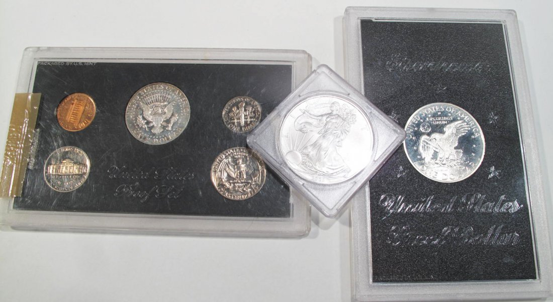 1971 EISENHOWER PROOF DOLLAR, 1970 PROOF SET AND A 2008